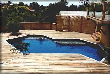 Custom swimming pool shape pleasure pools for Swimming pool surrounds design